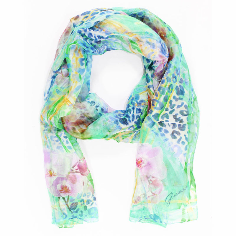 Guess Scarf Floral Design Chiffon Silk Shawl FINAL SALE