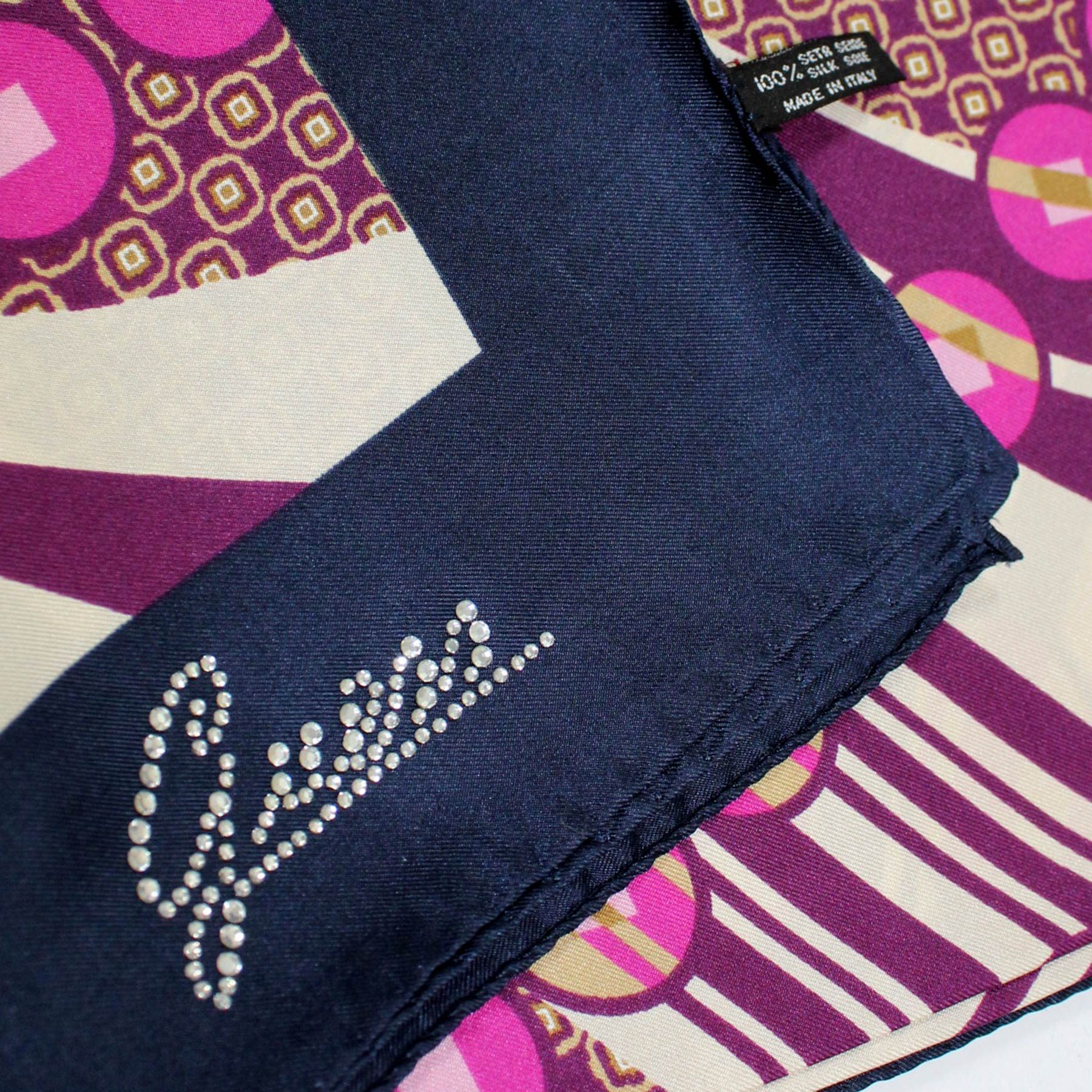 Guess Scarf Navy Purple Geometric Design - Large Square Silk Foulard FINAL SALE