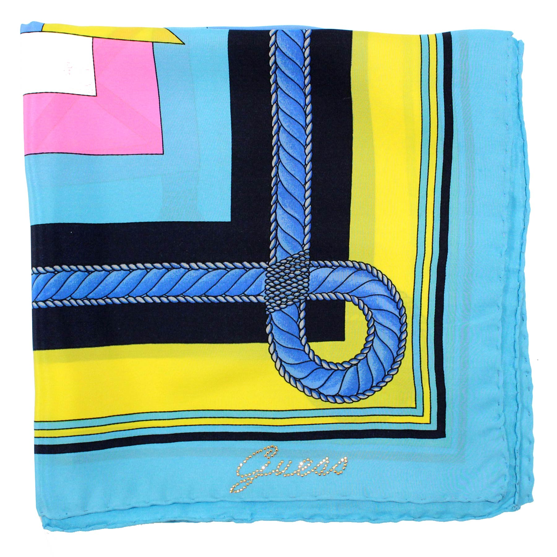 Guess Scarf Sky Blue Pink Yellow Design
