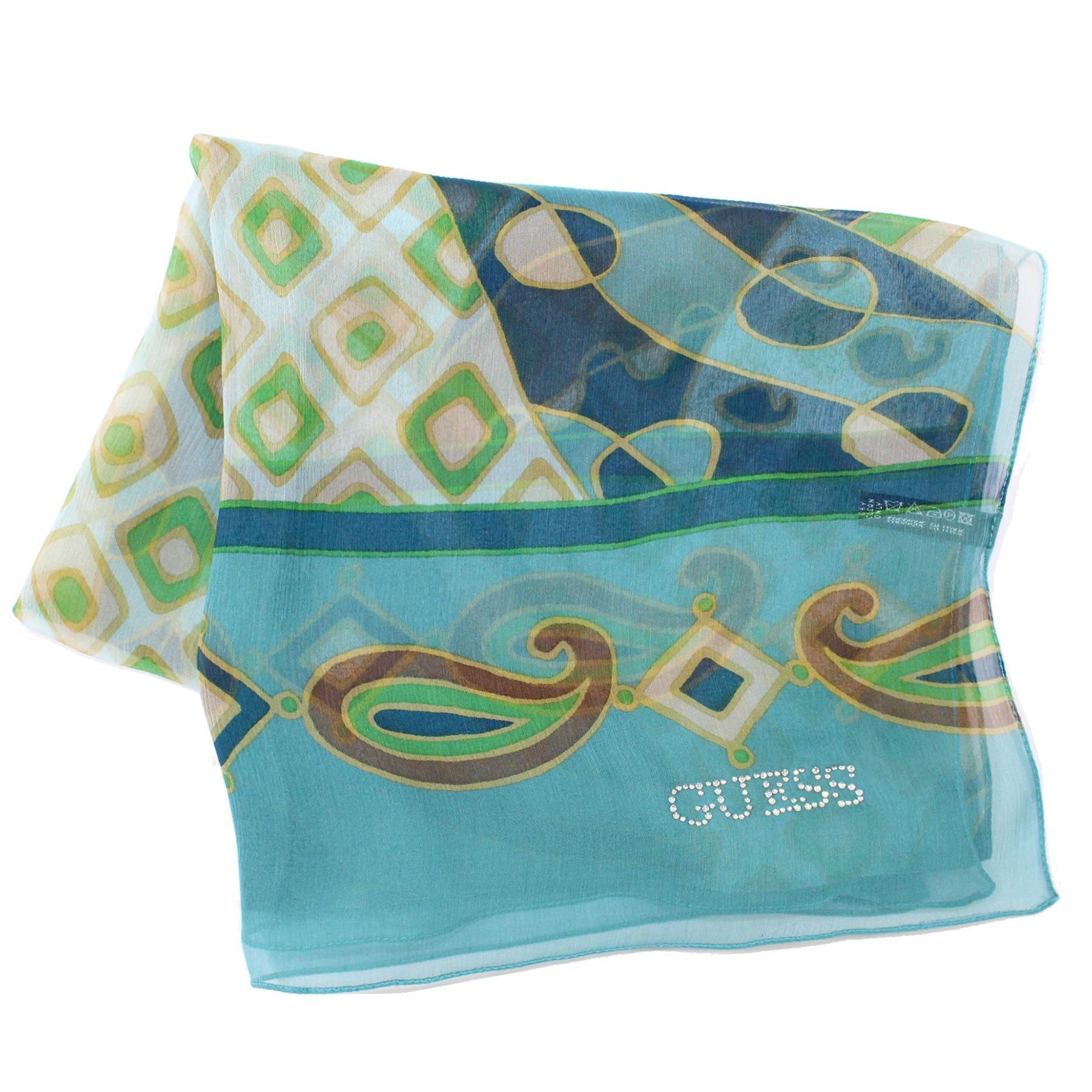 Guess Scarf Teal Green Design
