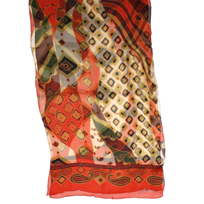 Guess Scarf Orange Brown Design - Chiffon Silk Shawl SALE