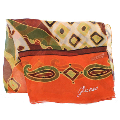 Guess Scarf Orange Brown Design