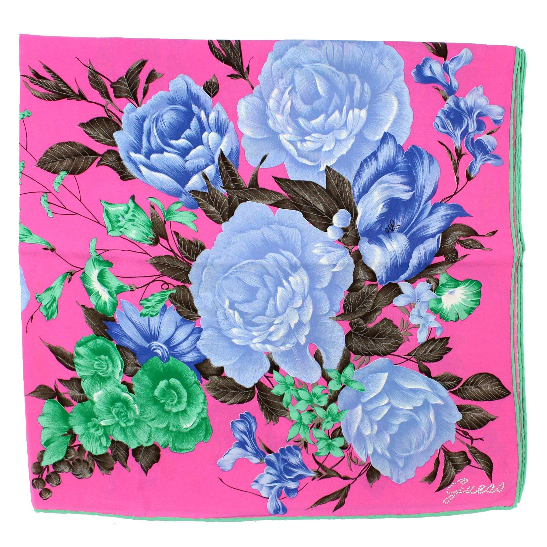 Guess Scarf Fuchsia Green Lilac Floral
