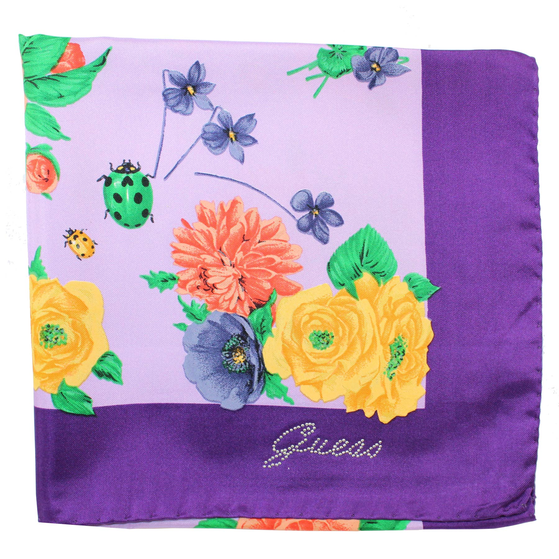 Guess Scarf Purple Lilac Floral Design - Large Square