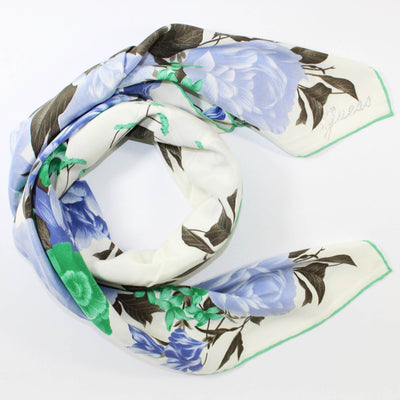 Guess Scarf White Lavender Green Floral Design - Large Square Silk Foulard SALE