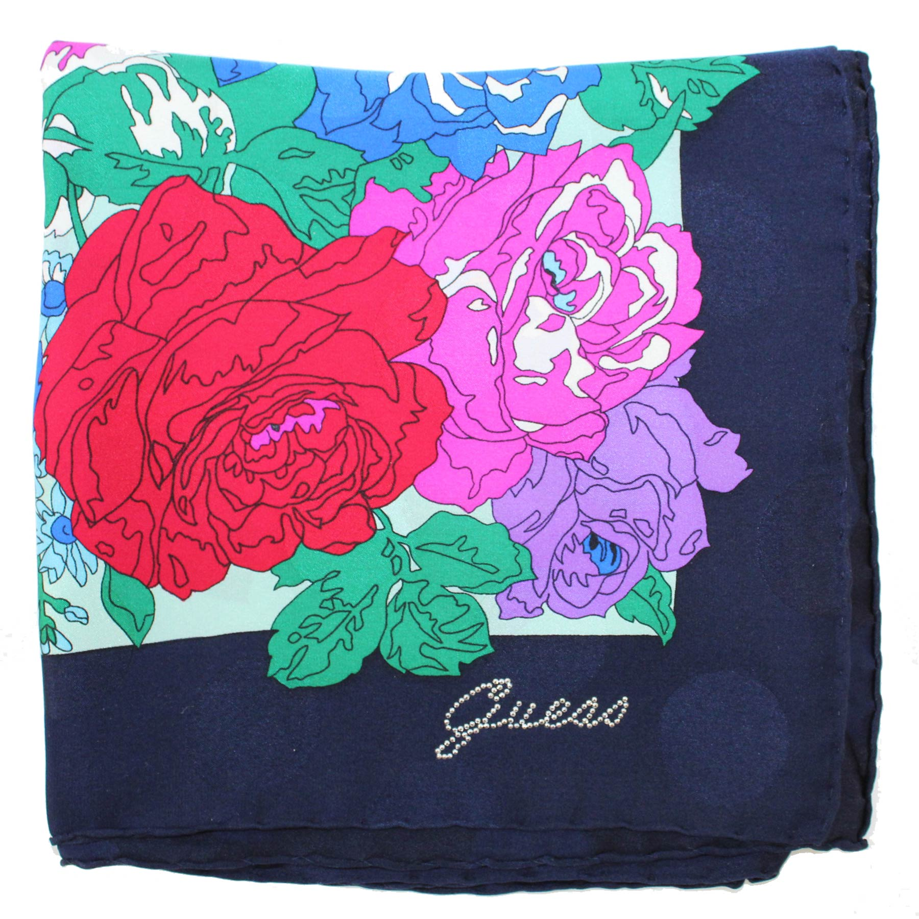 Guess Scarf Blue Navy Floral - Large Square Silk Foulard SALE
