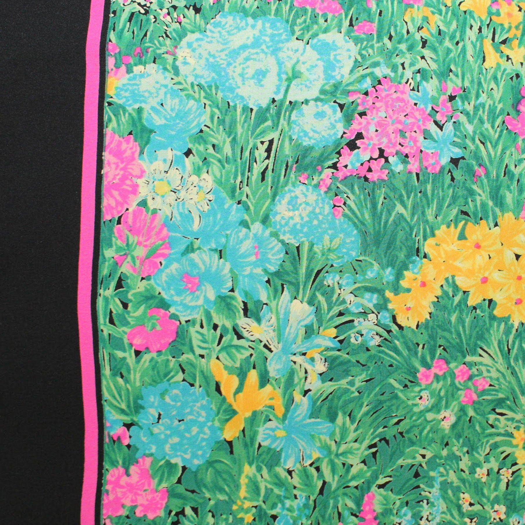 Guess Scarf Black Green Pink Floral Design - Large Square Silk Foulard