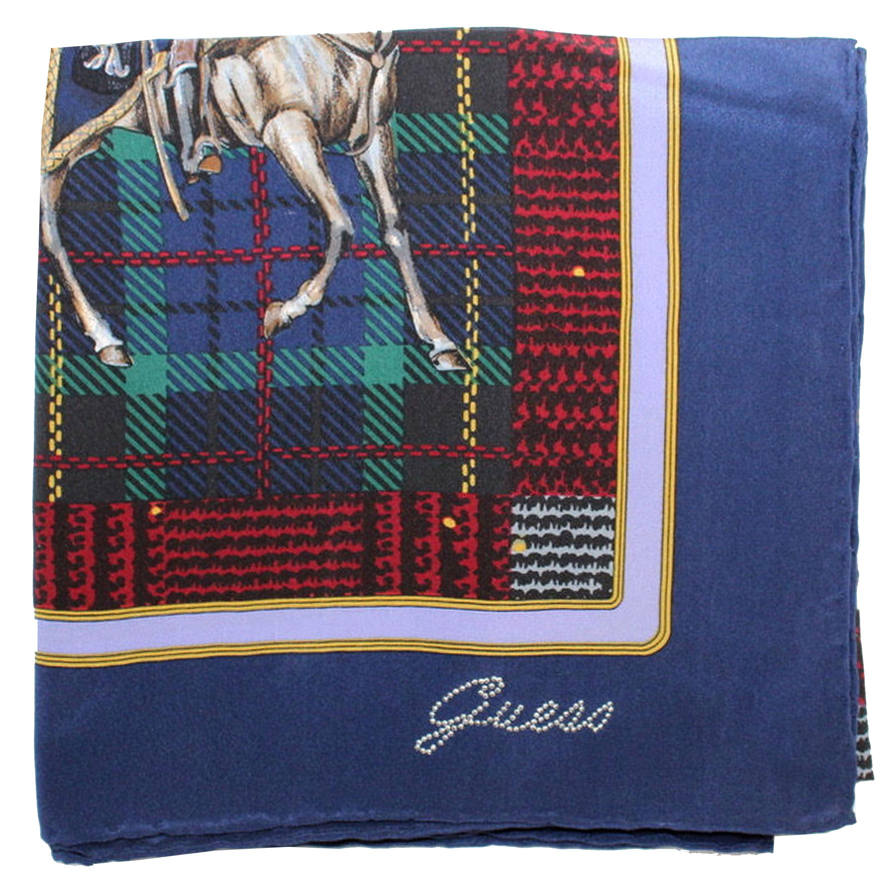 Guess Scarf Navy Horse Plaid Design - Large Square Silk Foulard