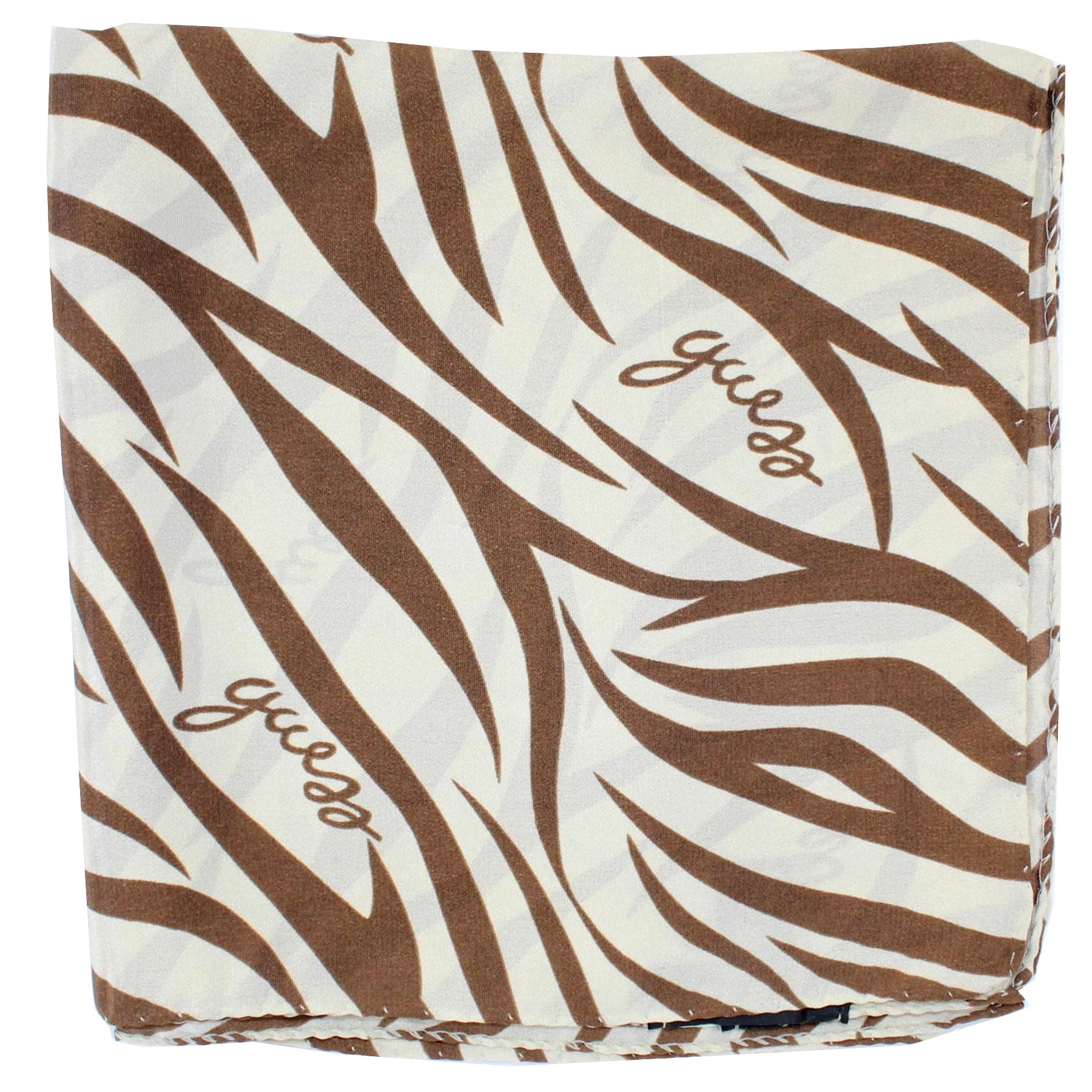 Guess Scarf Brown Cream Zebra Design - Large Square Silk Foulard