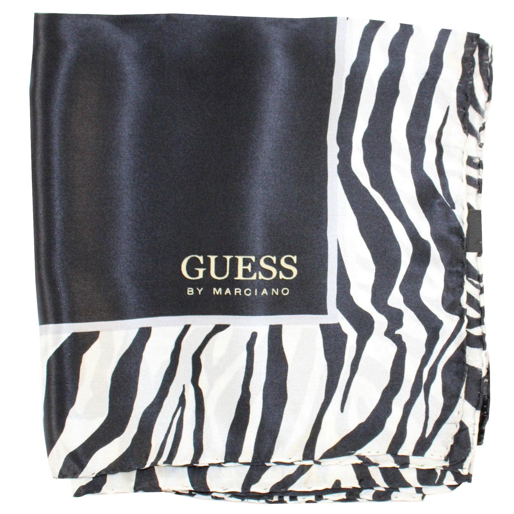 Guess Scarf Black White Zebra Design - Large Square Silk Foulard