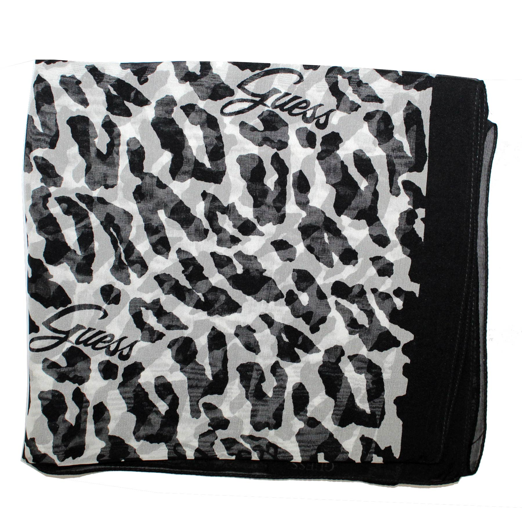 Guess Scarf Black White Animal Print - Chiffon Silk Shawl SALE