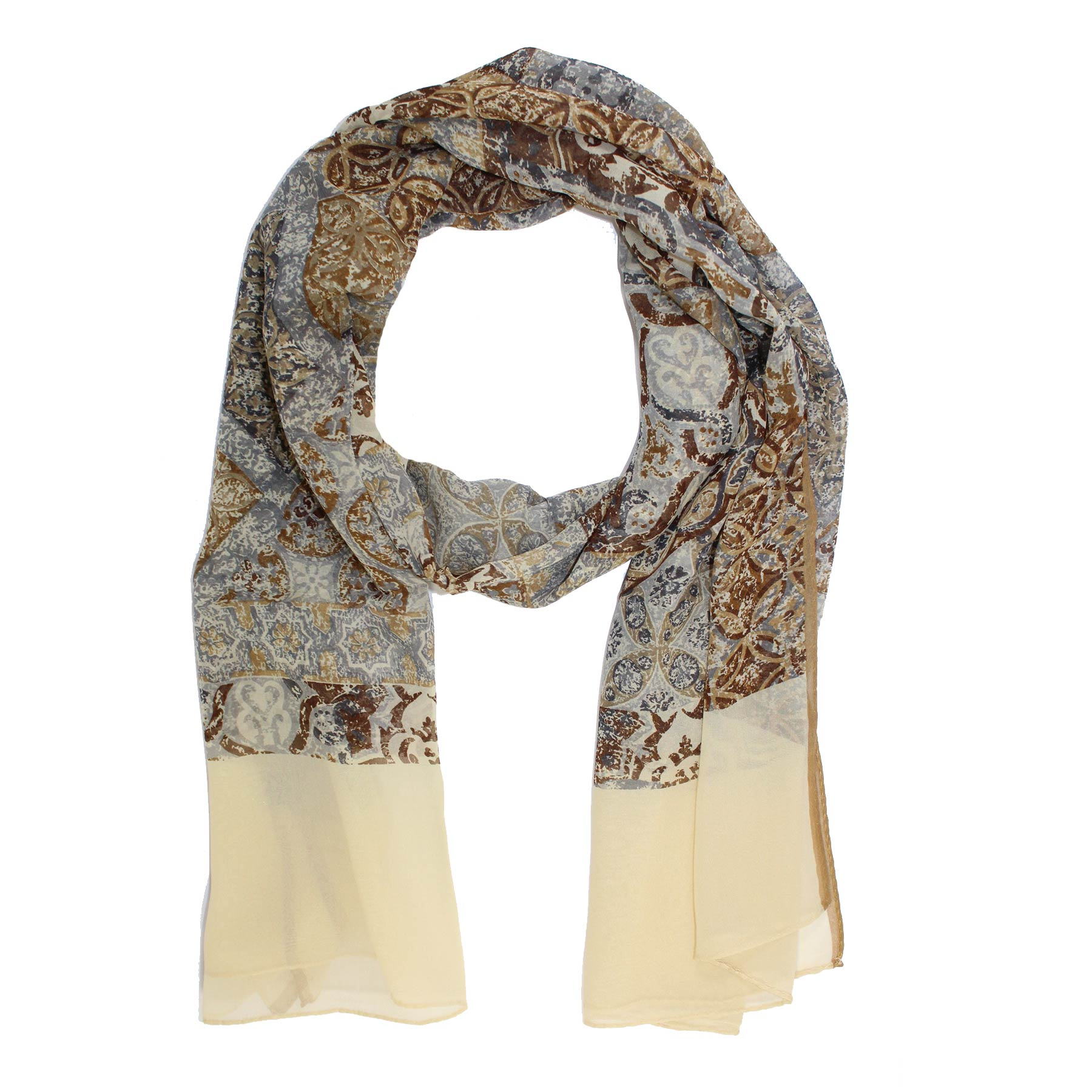 Guess Scarf Brown Beige Gray Design