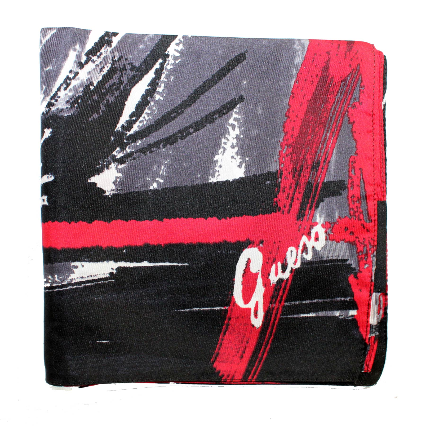 Guess Scarf Black Gray Red