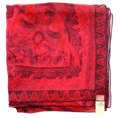Hermes Scarf Pink Red Axis Mundi Authentic