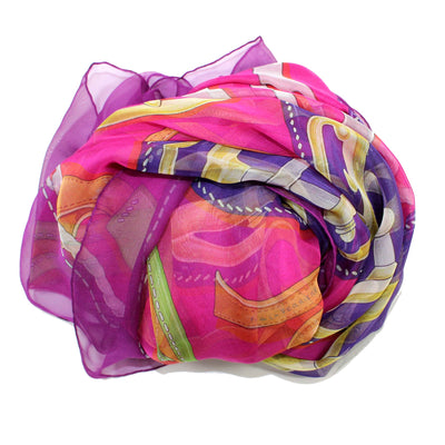 Hermes Scarf Bouclerie D'Attelage Purple Pink - Extra Large Chiffon Silk Square Scarf