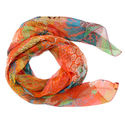 Hermes Scarf Under The Waves Orange Turquoise Green - Extra Large Chiffon Silk Square Scarf