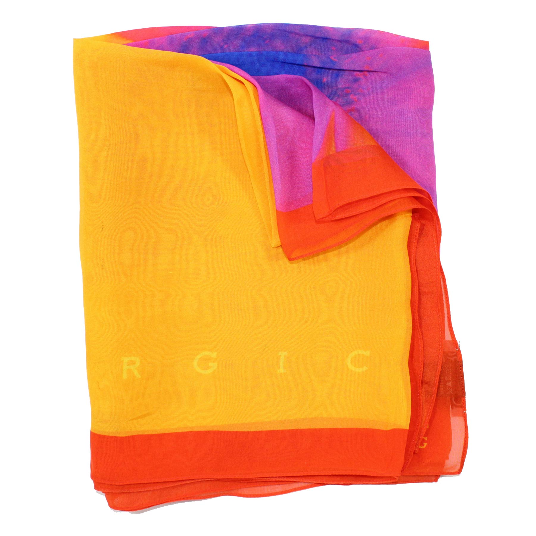Iceberg Scarf Orange Purple Royal Blue - Silk Shawl SALE