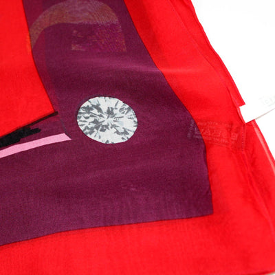 Iceberg Scarf Red Purple Logo -  Silk Shawl SALE