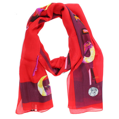 Iceberg Scarf Red Purple Logo -  Silk Shawl New