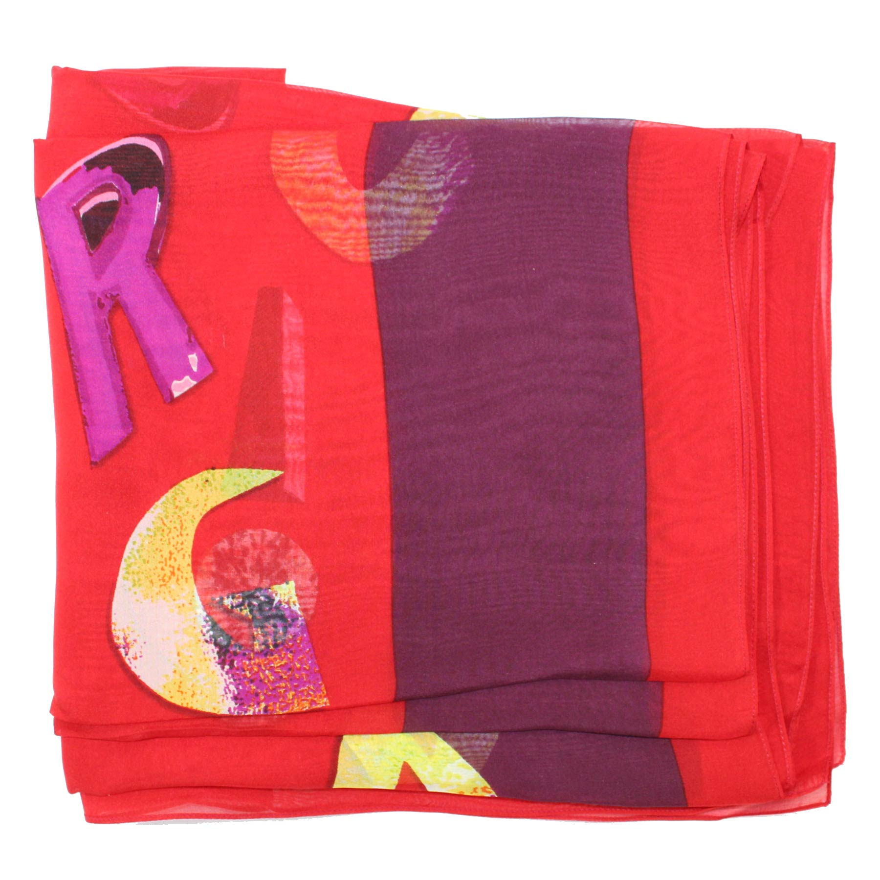Iceberg Silk Scarf Red Purple Logo - FINAL SALE