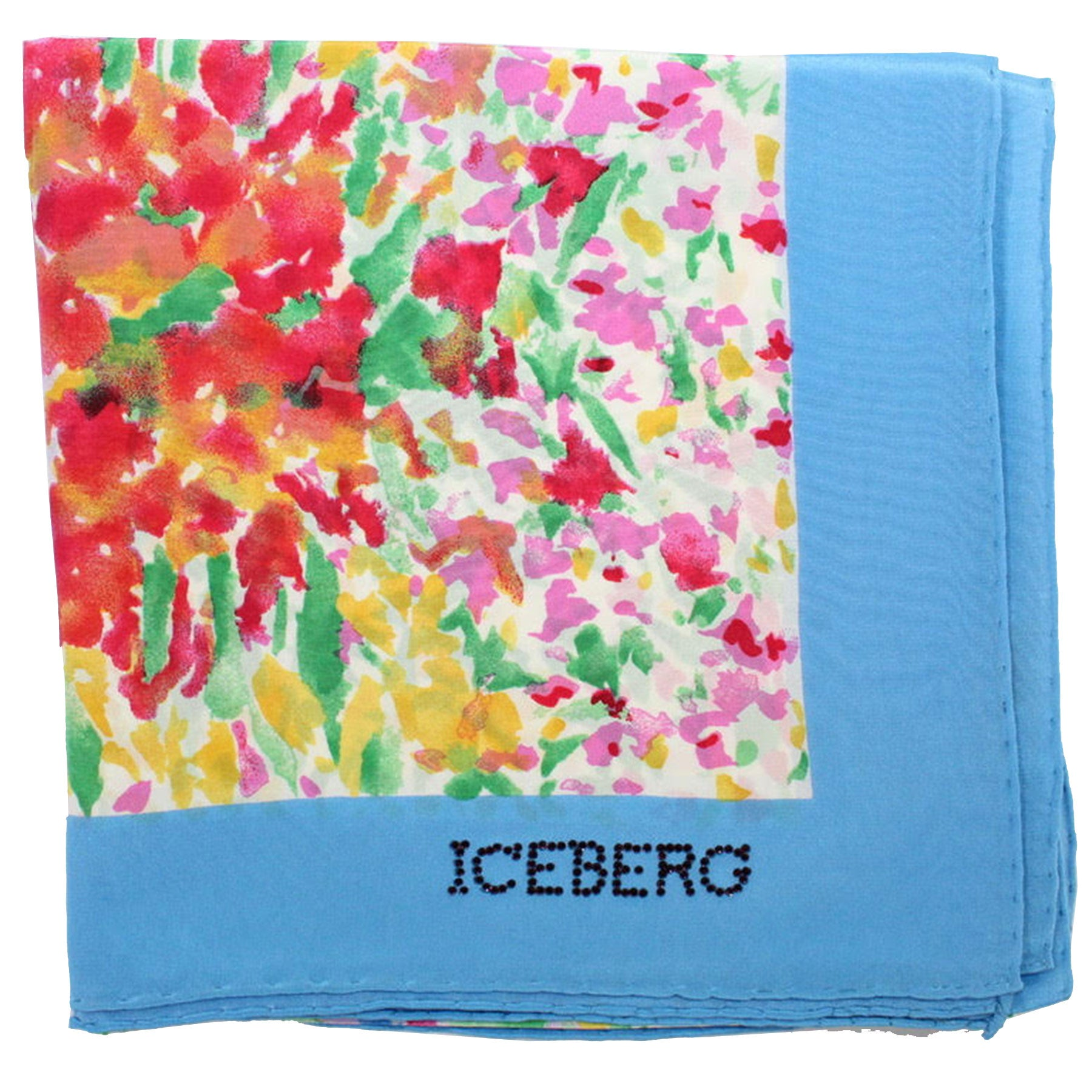Iceberg Scarf Blue Multi Colored Floral Design - Large Silk Square Foulard