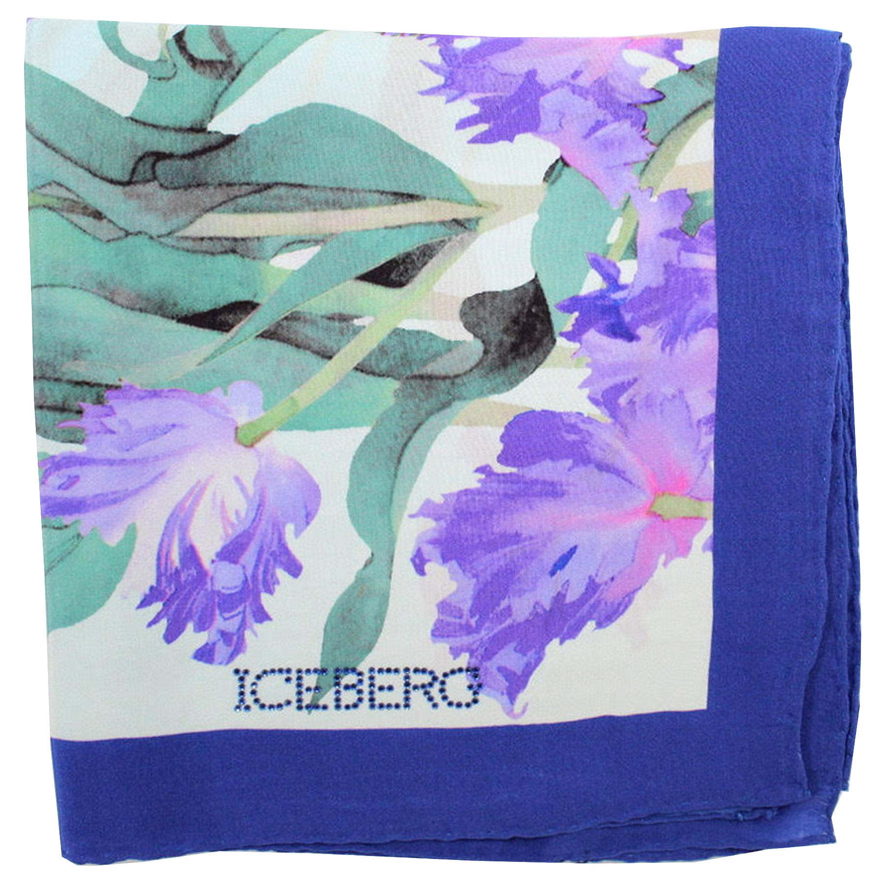 Iceberg Scarf Aqua Purple Floral Design - Large Silk Square Foulard