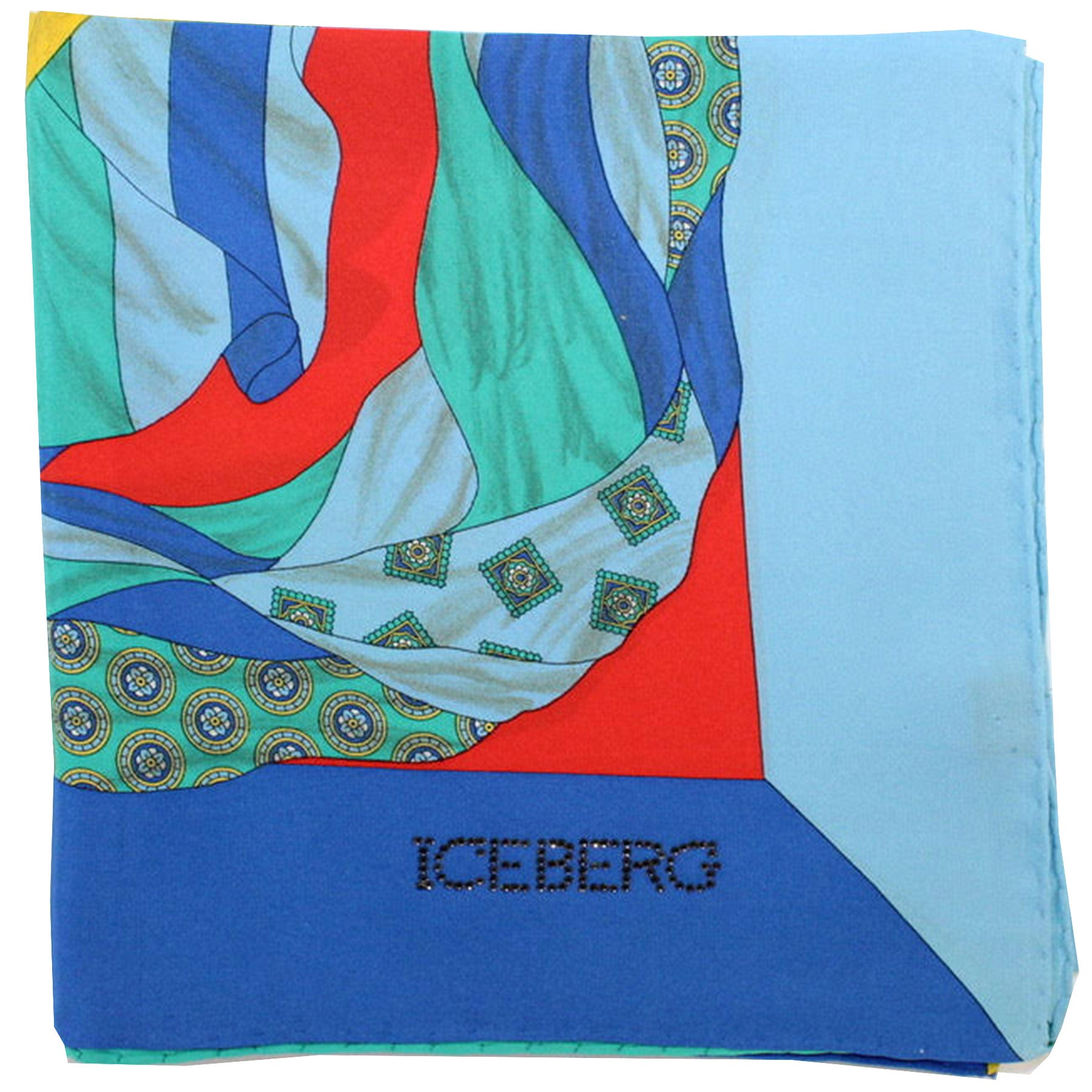 Iceberg Scarf Blue Orange Red Medallions Design - Large Silk Square Foulard