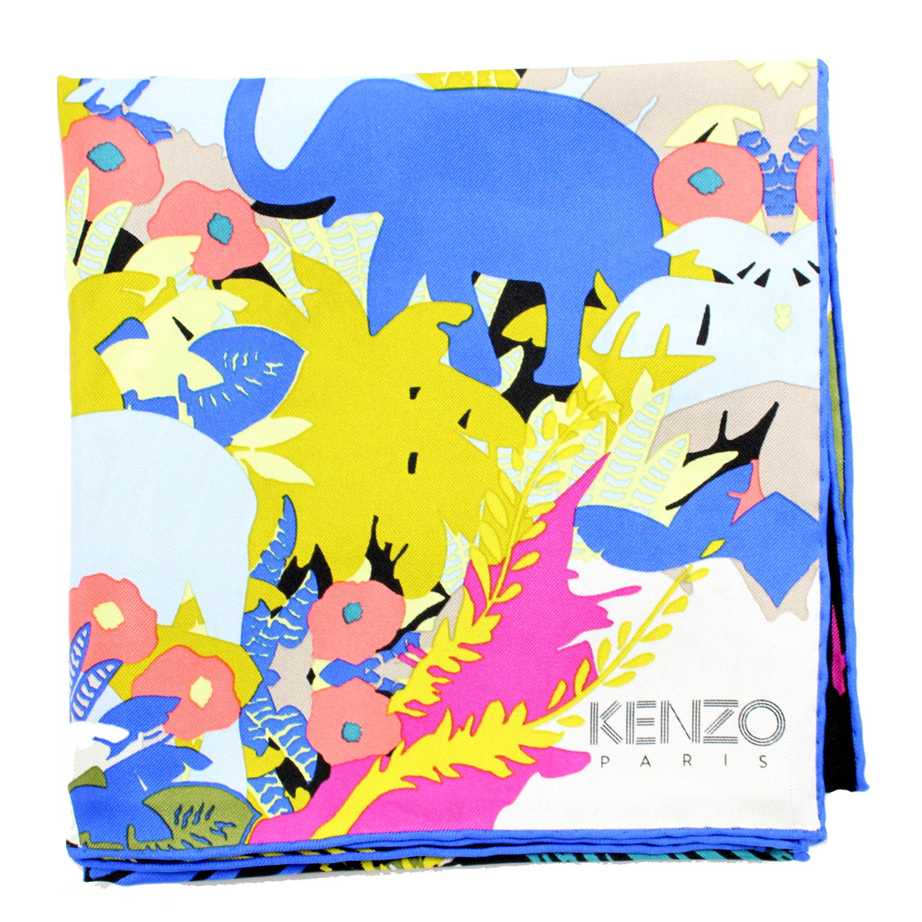Kenzo Scarf Royal Blue Olive Gray Leaves