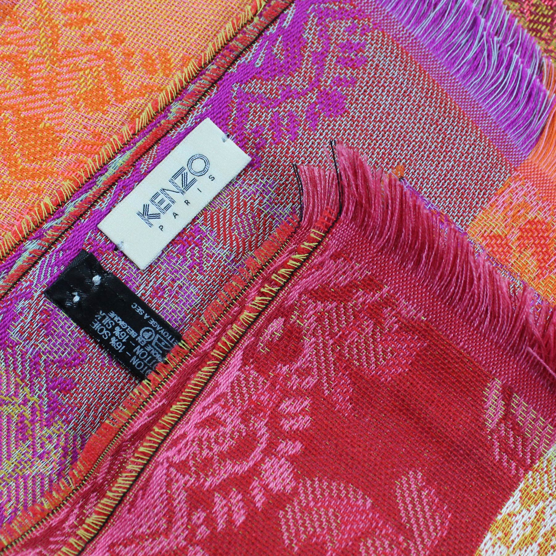 Kenzo Woman Scarf Pink Orange Floral Stripes Wool Blend Shawl