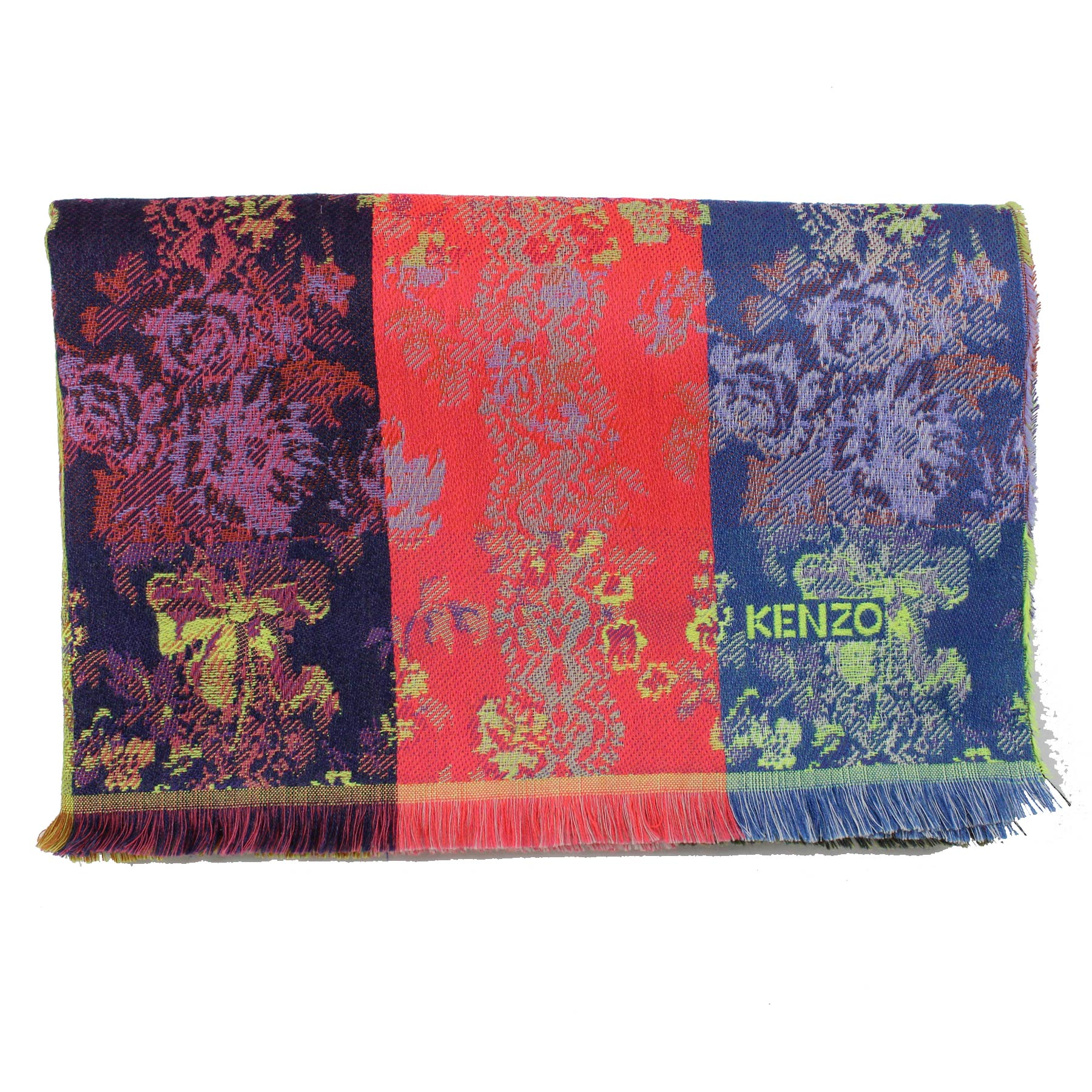 Kenzo Woman Scarf Purple Pink Olive Wool Blend Shawl