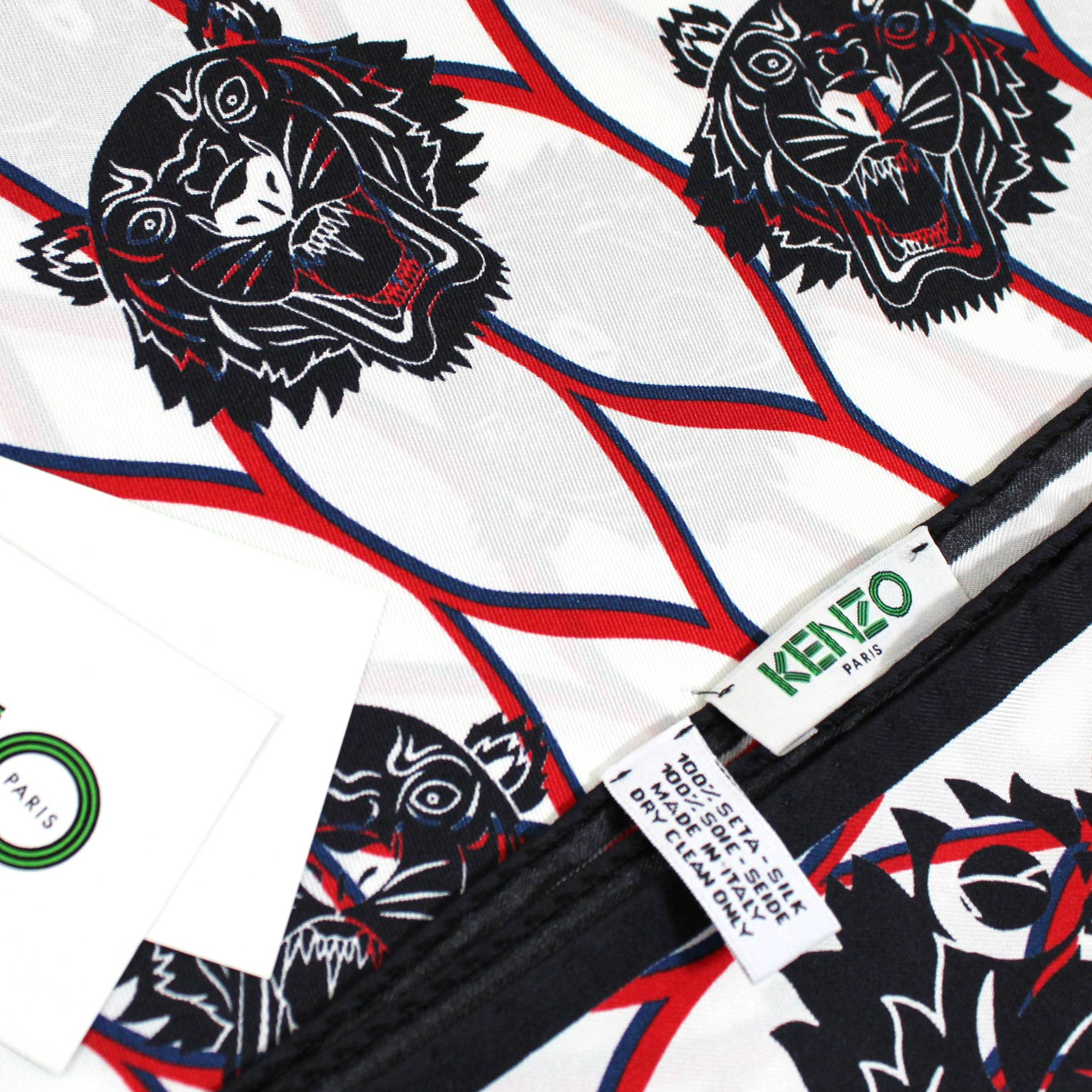 Kenzo Scarf White Navy Red Logo & Tiger Design - Large Silk Square Scarf