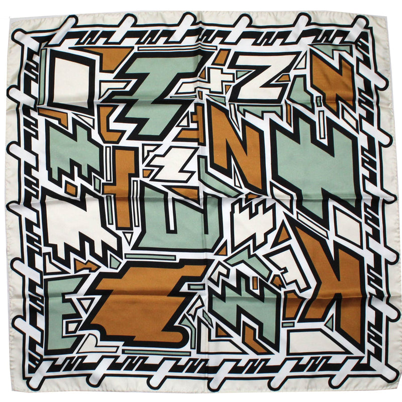 Kenzo Scarf Brown Green Logo Text Scramble - Large Silk Square Scarf