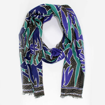 Kenzo Scarf Taupe Black Purple Green Floral Design Modal Cashmere Blend Shawl SALE