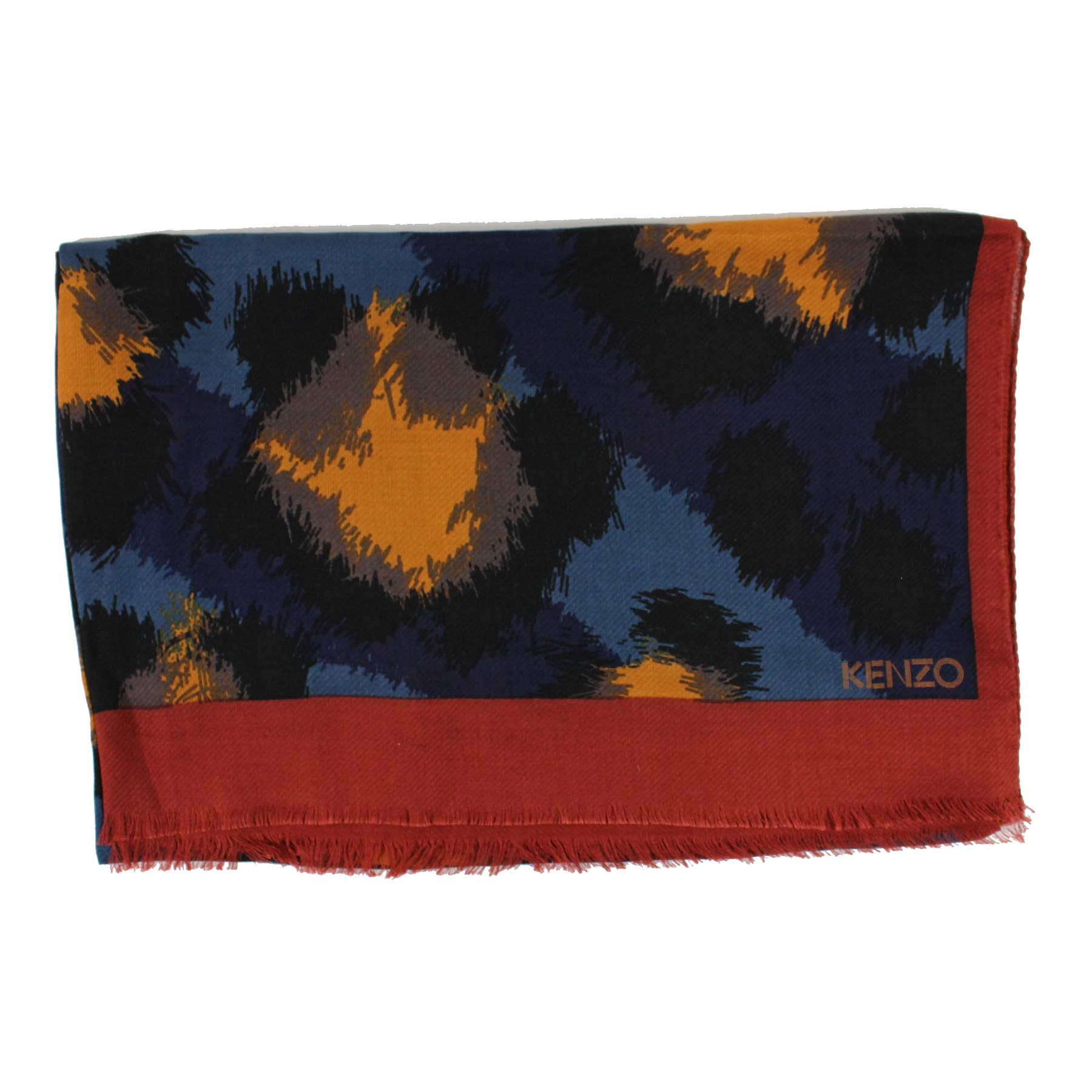 Kenzo Scarf Midnight Blue Brown Mustard Taupe Design
