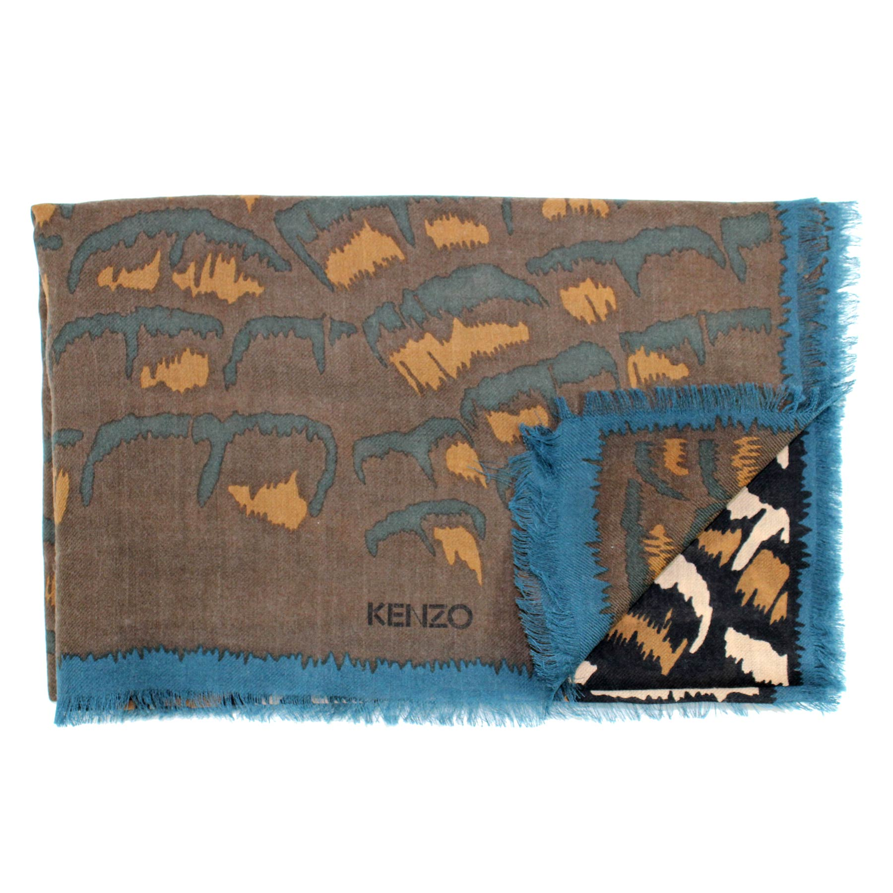 Kenzo Scarf Brown Metal Blue Design - Wool Women Shawl