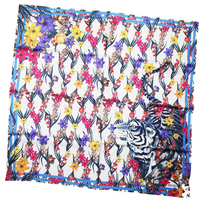 Kenzo Women Scarf White Navy Flowers & Tiger - Large Silk Square Scarf