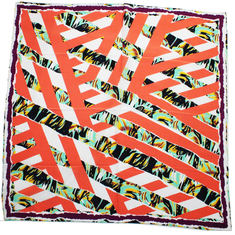 Kenzo Women Scarf Peach Purple Mint Stripes & Floral- Large Silk Square Scarf