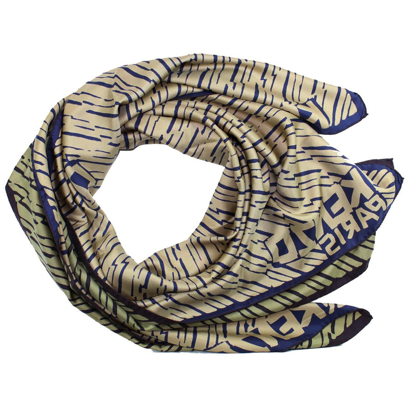 Kenzo Scarf Olive Green Design - Extra Large Square Silk Wrap