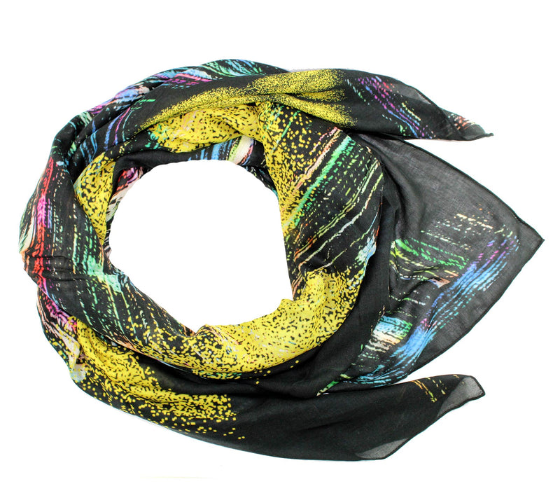 Kenzo Scarf Black Design - Extra Large Square Wool Scarf