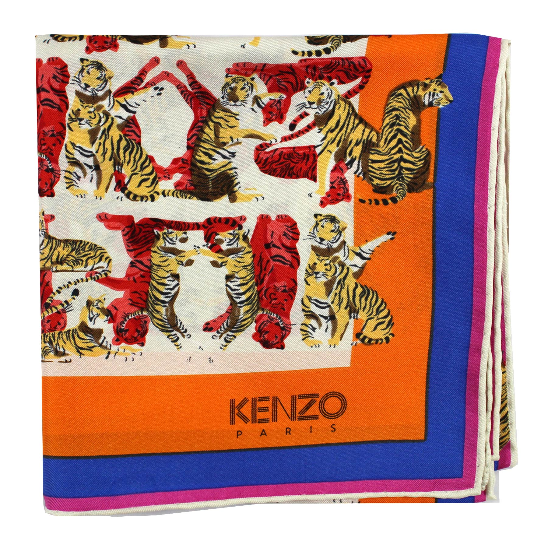 Kenzo Scarf Orange Silk Square Scarf