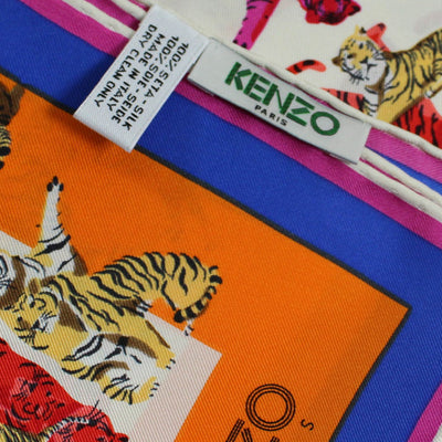 Kenzo Scarf Orange Royal Blue Tigers - Medium Silk Square Scarf