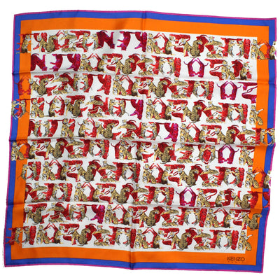 Kenzo Scarf Orange  - Medium Silk Square Scarf