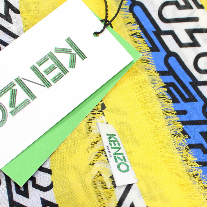 Kenzo Scarf Yellow Royal Blue Logo Design