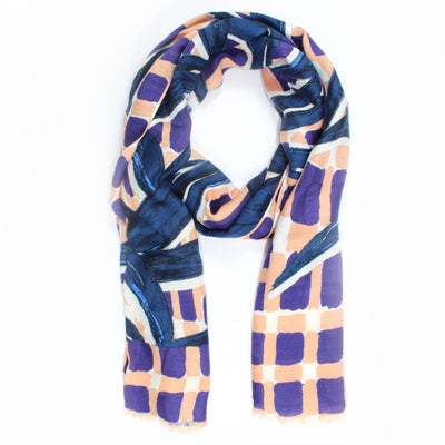 Kenzo Scarf Purple Pink Midnight Blue Design - Modal Shawl SALE