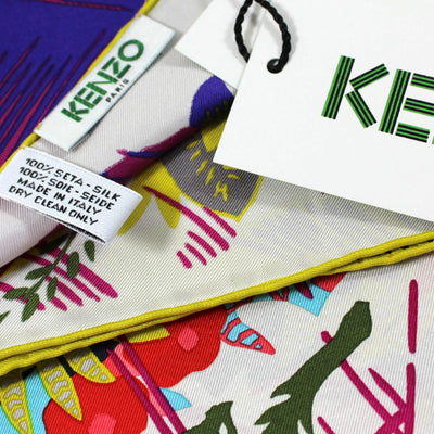 Kenzo Scarf Elephant & Floral Design - Medium Silk Square Scarf SALE