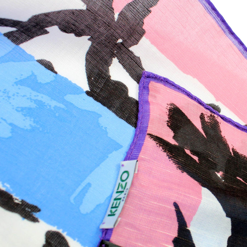 Kenzo Scarf Blue Pink Floral Design - Extra Large Square Linen Blend Wrap FINAL SALE