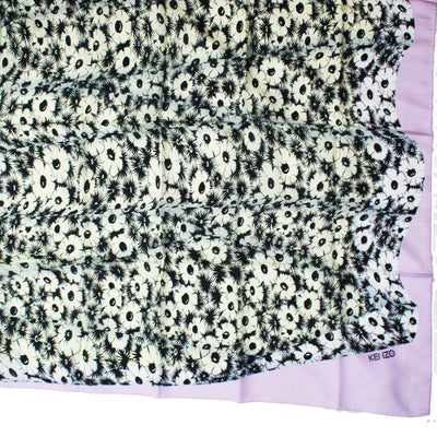 Kenzo Scarf Lilac Black White Flowers Design - Extra Large Square Scarf FINAL SALE