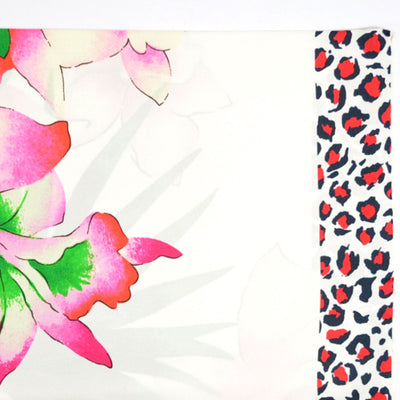 Kenzo Silk Square Scarf White Pink Floral BLACK FRIDAY SALE