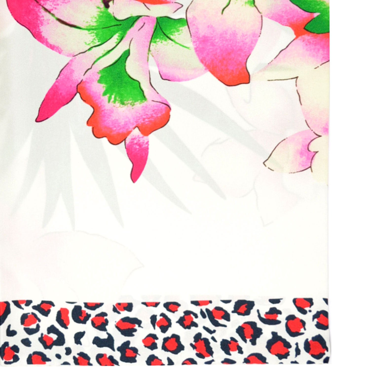 Kenzo Silk Square Scarf White Pink Floral
