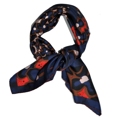 Kenzo Scarf Lapis Blue Brown Orange - Large Twill Silk Square Scarf
